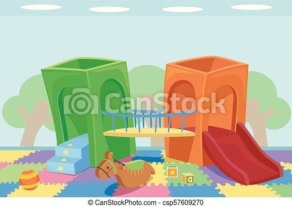 intérieur, cour de récréation, illustration - csp57609270
