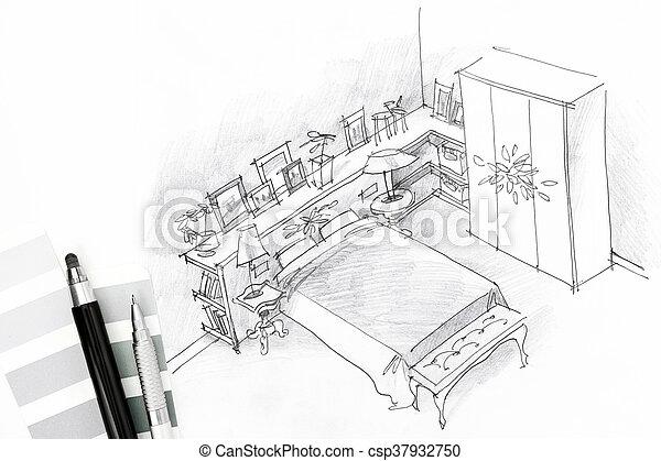 intérieur, croquis, outils, dessin, chambre à coucher