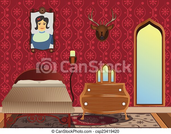 int rieur dessin anim chambre coucher illustration vectorielle rechercher des. Black Bedroom Furniture Sets. Home Design Ideas