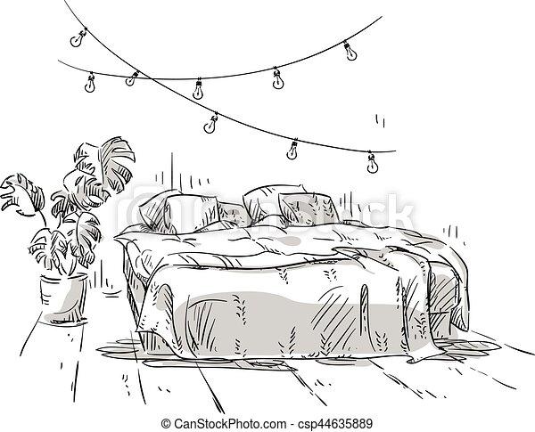 Intérieur, dessin, chambre à coucher, design. Illustration., dessin ...