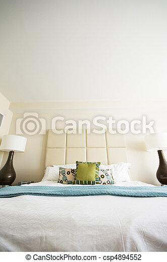 intérieur, double, salle moderne, lit - csp4894552