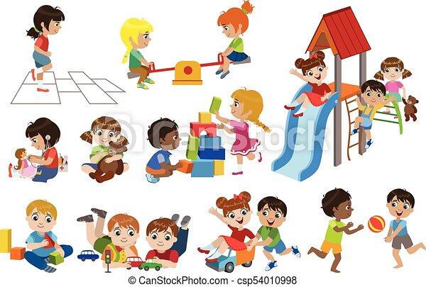 intérieur, ensemble, jouer, gosses - csp54010998