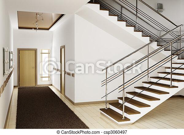 Intérieur, escalier, 3d. Render, escalier, moderne, intérieur, salle ...