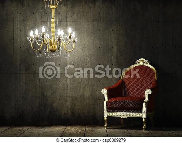 intérieur, fauteuil, grunge, salle, classique - csp6009279