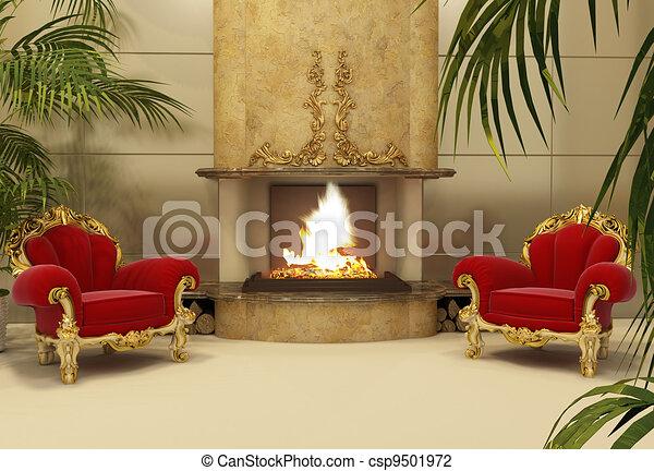 int rieur fauteuils baroque royal chemin e. Black Bedroom Furniture Sets. Home Design Ideas