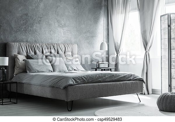 intérieur, gris, blanc, chambre à coucher