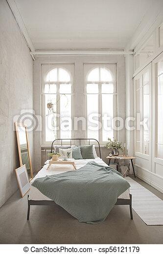 intérieur, gris, blanc, confortable, chambre à coucher