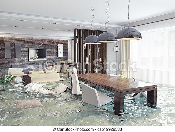 intérieur, inondation - csp19929533