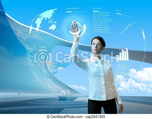 intérieur, interface, brunette, séduisant, futuriste - csp3341343