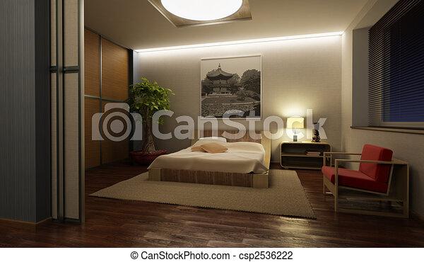intérieur, japon, style, chambre à coucher