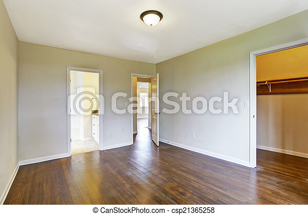 Intérieur, maître, vide, chambre à coucher. Salle bains, placard ...