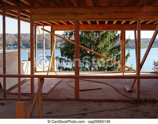 Intérieur, maison bois. Maison bois, océan, construction ...