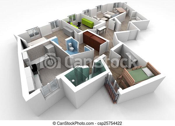 Int rieur maison appartement sans toit meubl pleinement projection rendre architecture - Plan de maison sans toit ...