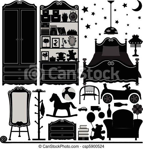 intérieur, maison, conception, salle, chambre à coucher - csp5900524