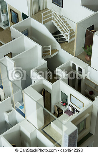 intérieur, maison, modèle