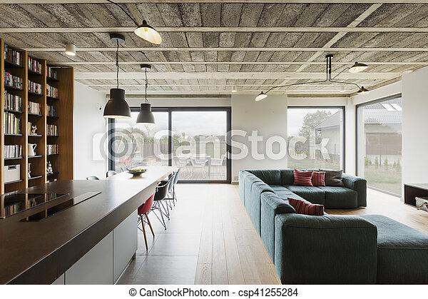 intérieur, maison, moderne, luxe