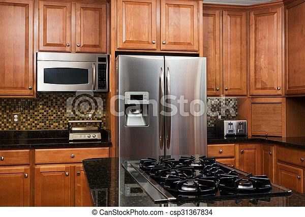 intérieur, maison, moderne, luxe, cuisine