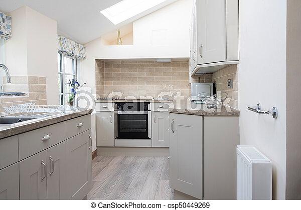 Intérieur, maison, moderne, vide, cuisine.