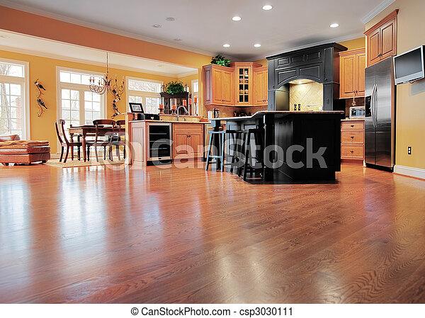 int rieur maison plancher bois premier plan salle plancher d ner format tendue grand. Black Bedroom Furniture Sets. Home Design Ideas