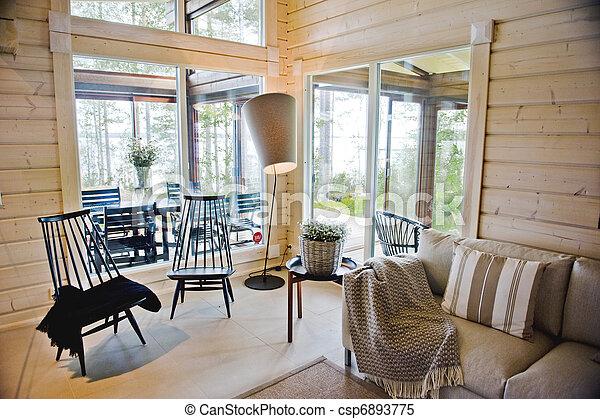 Intérieur, maison, scandinave. Été, finlandais, bois,... images de ...
