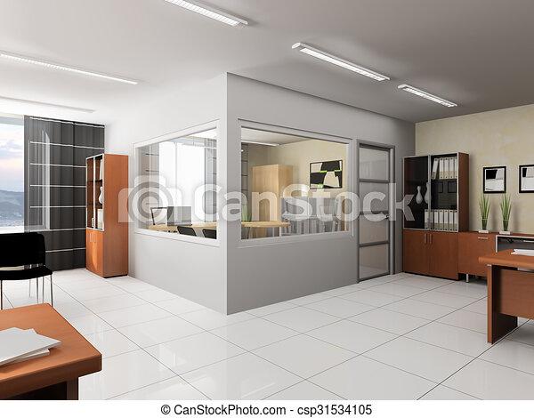 Intérieur moderne bureau style bureau moderne rendre