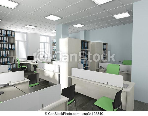 Intérieur moderne bureau. style bureau moderne rendre