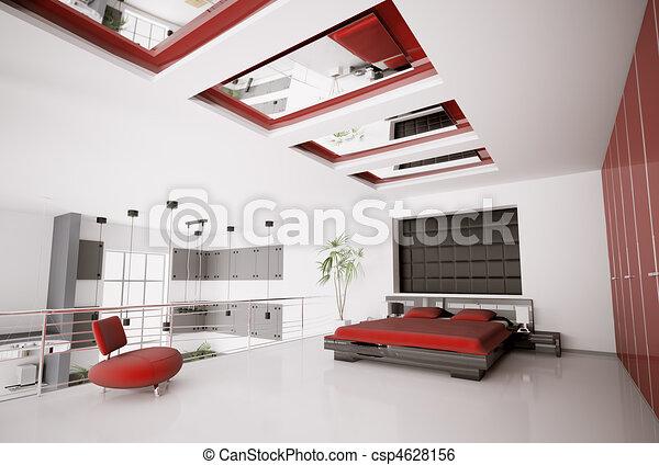 Intérieur, moderne, chambre à coucher, 3d. Render, moderne ...
