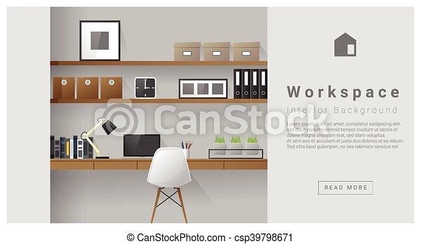 intérieur, moderne, conception, espace de travail, fond