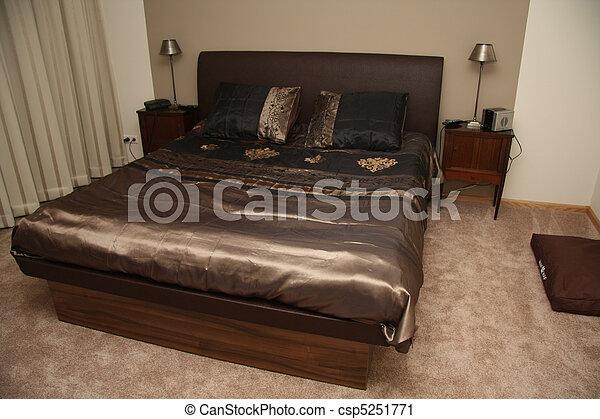 Intérieur, -, moderne, conception, chambre à coucher. Brun ...