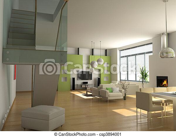 Intérieur, moderne. Appartement, rendering), moderne ...