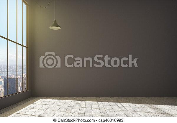 intérieur, mur, contemporain, vide