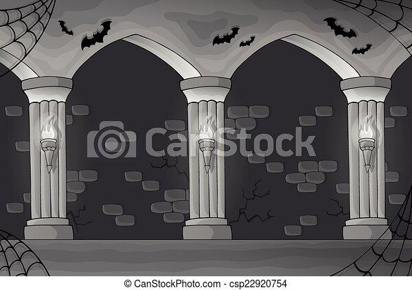 intérieur, noir, blanc, hanté - csp22920754
