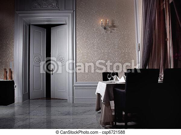 intérieur, ouvert, blanc, porte, classique - csp6721588