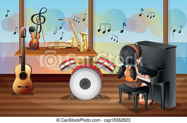 Int rieur pianiste salle musique jeune salle for Interieur sport musique