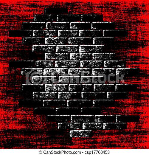 intérieur., résumé, fond, briques, grungy, sombre, rouges - csp17768453