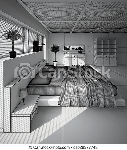 Intérieur, Rendre, Moderne, 3D, Chambre À Coucher Dessin