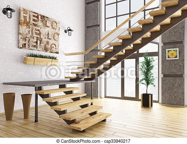 Intérieur, rendre, moderne, escalier, 3d. Salle, escalier, moderne ...