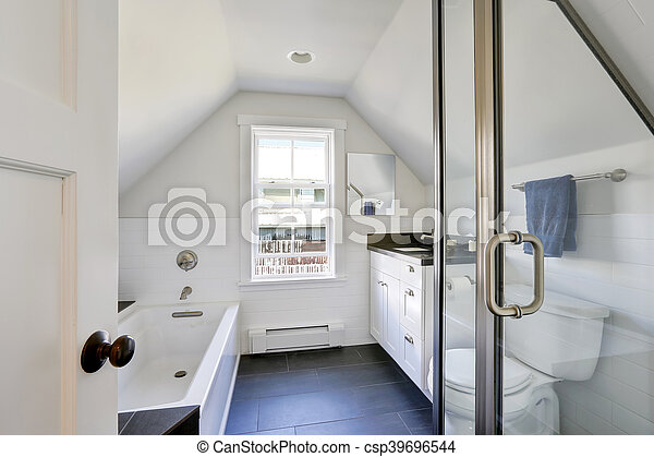 intérieur, salle bains, moderne, blanc, attic.
