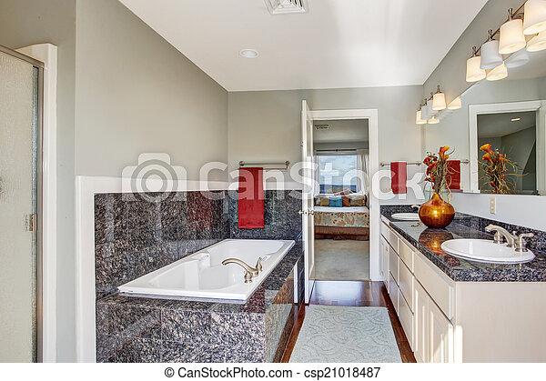 intérieur, salle bains, moderne, maître, chambre à coucher