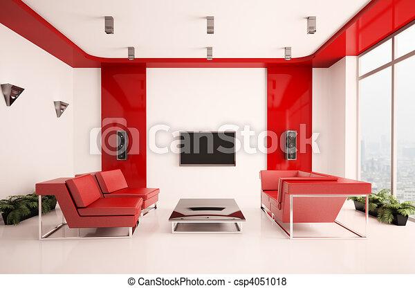 intérieur, salle de séjour, 3d - csp4051018