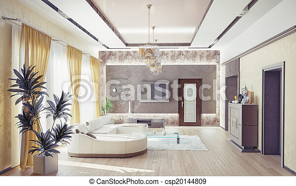 intérieur, salle de séjour - csp20144809