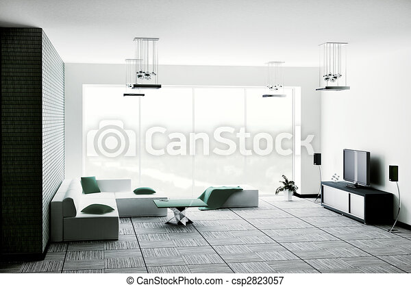 intérieur, salle de séjour, render, 3d - csp2823057