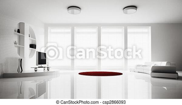 intérieur, salle de séjour, render, 3d - csp2866093