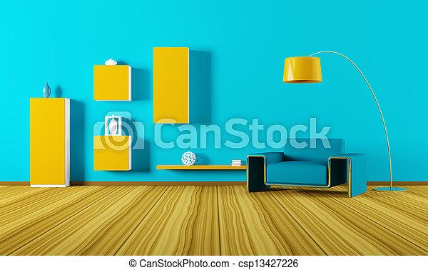intérieur, salle de séjour, render, 3d - csp13427226