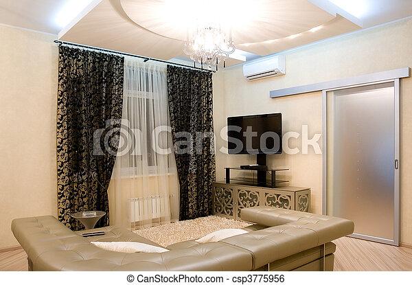 intérieur, salle, moderne, dessin - csp3775956