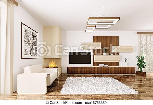 intérieur, salle moderne, render, 3d - csp16763360