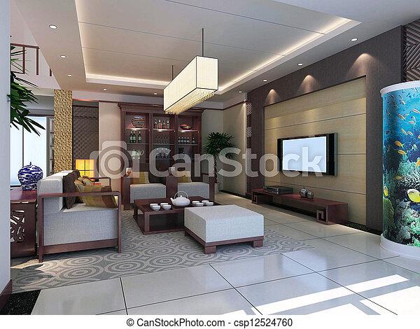 intérieur, salle séjour, moderne, render, 3d - csp12524760