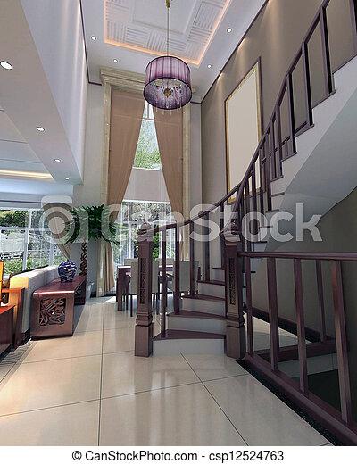 intérieur, salle séjour, moderne, render, 3d - csp12524763