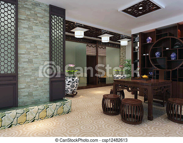 intérieur, salle séjour, moderne, render, 3d - csp12482613