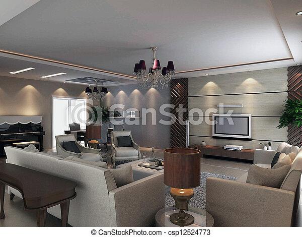 Attrayant Intérieur, Salle Séjour, Moderne, Render, 3d   Csp12524773